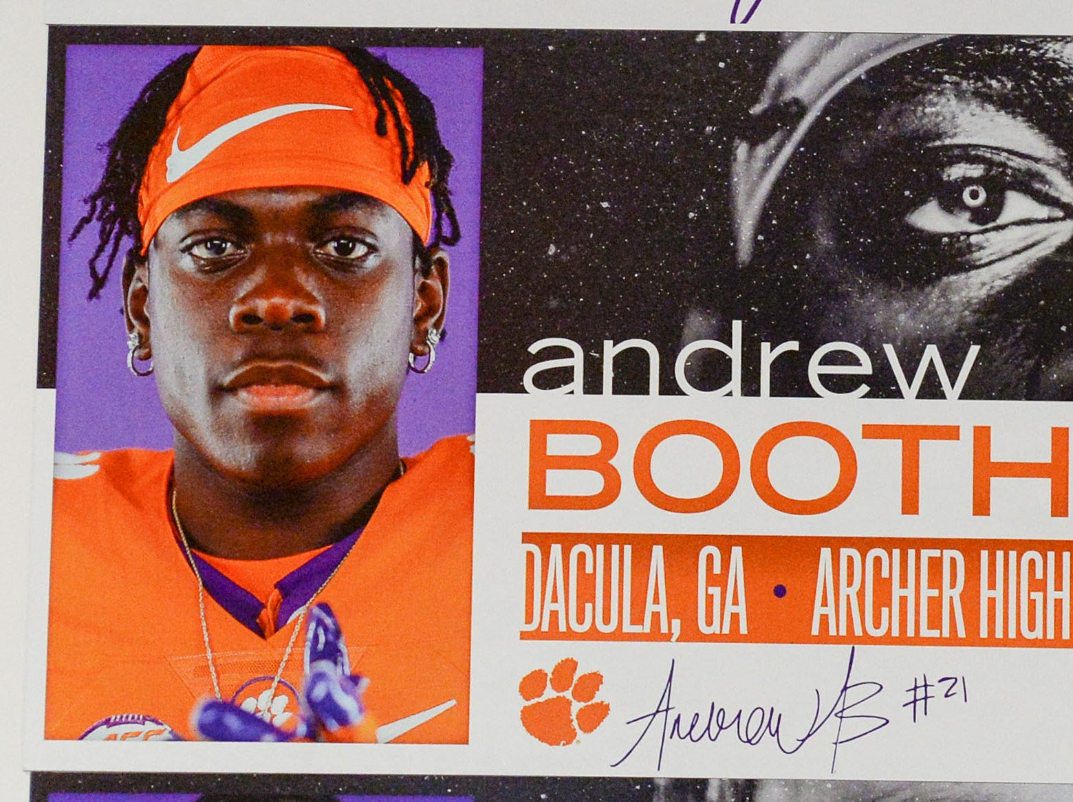 A photo of Andrew Booth, Jr. a defensive back from Dacula, Georgia, is displayed in the team meeting room for a National Letter of Intent signing day press conference in Clemson Wednesday, February 6, 2019.