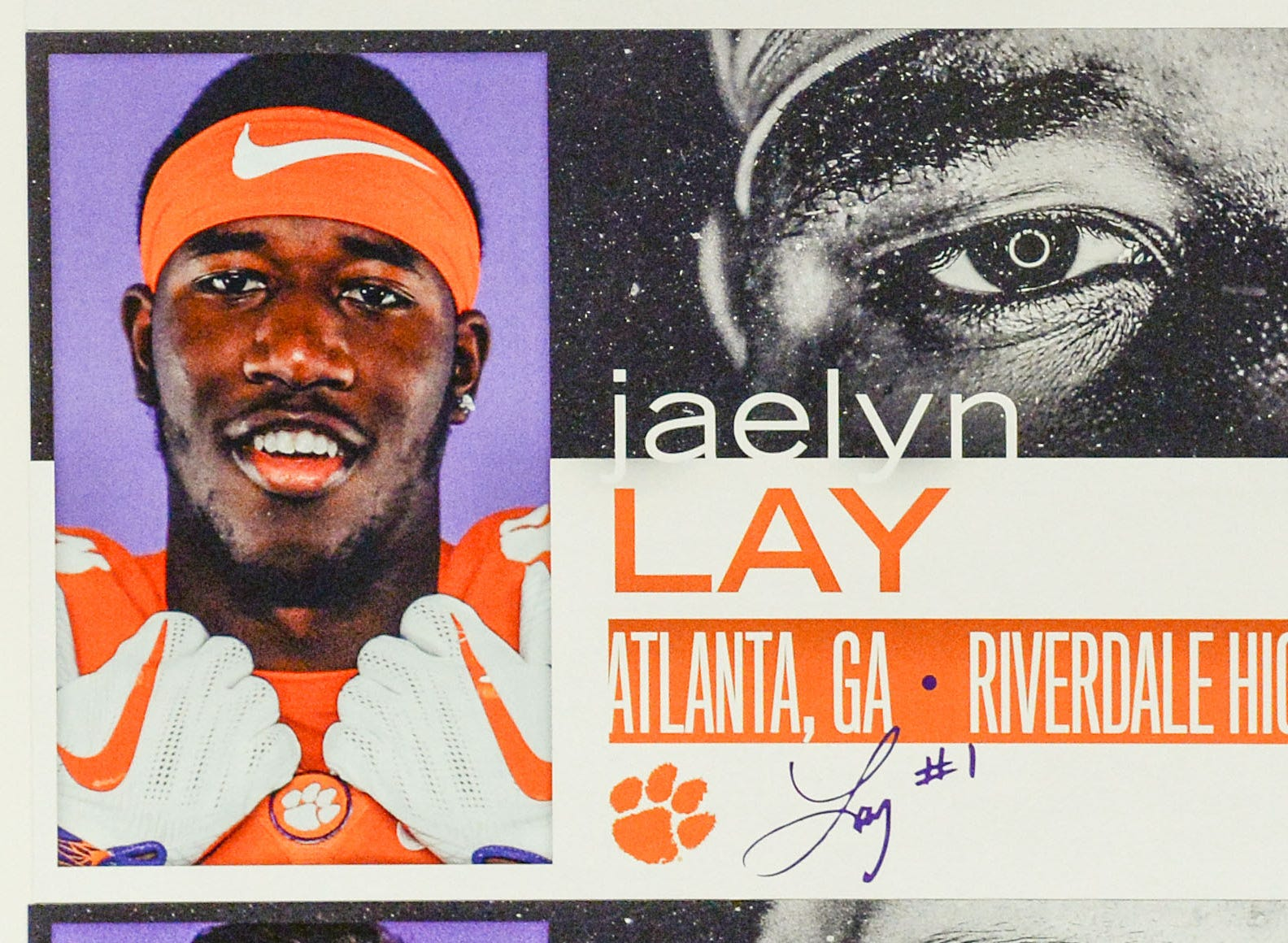 A photo of Jaelyn Lay, a tight end from Atlanta, Georgia, is displayed in the team meeting room for a National Letter of Intent signing day press conference in Clemson Wednesday, February 6, 2019.