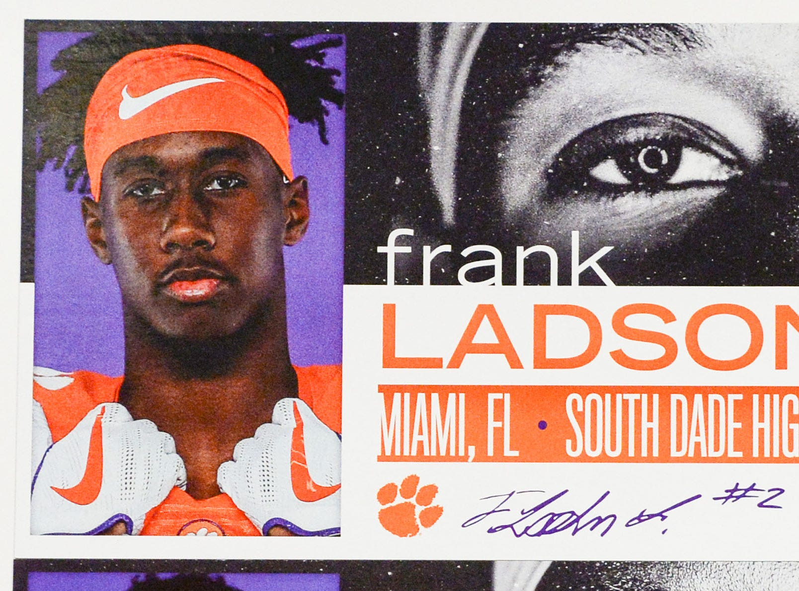 A photo of Frank Ladson, a wide receiver from Miami, Florida, is displayed in the team meeting room for a National Letter of Intent signing day press conference in Clemson Wednesday, February 6, 2019.