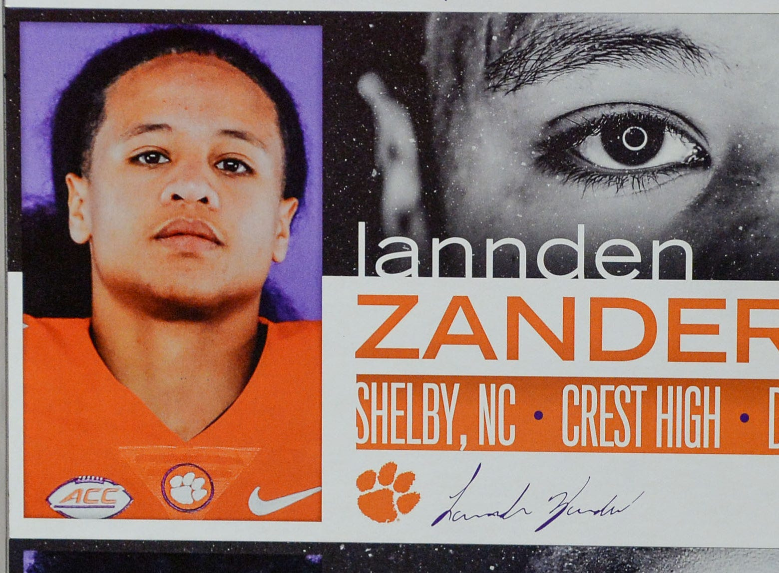 A photo of Lannden Zanders, a defensive back from Shelby, N.C., is displayed in the team meeting room for a National Letter of Intent signing day press conference in Clemson Wednesday, February 6, 2019.