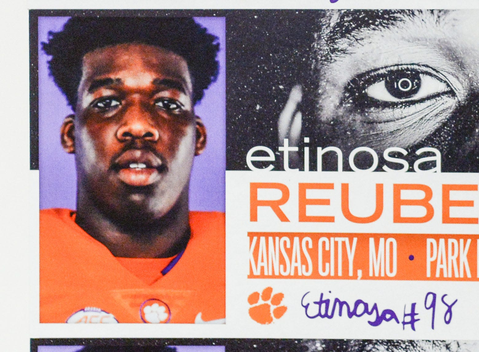 A photo of Etinosa Reuben, a defensive lineman from Kansas City, Missouri, is displayed in the team meeting room for a National Letter of Intent signing day press conference in Clemson Wednesday, February 6, 2019.