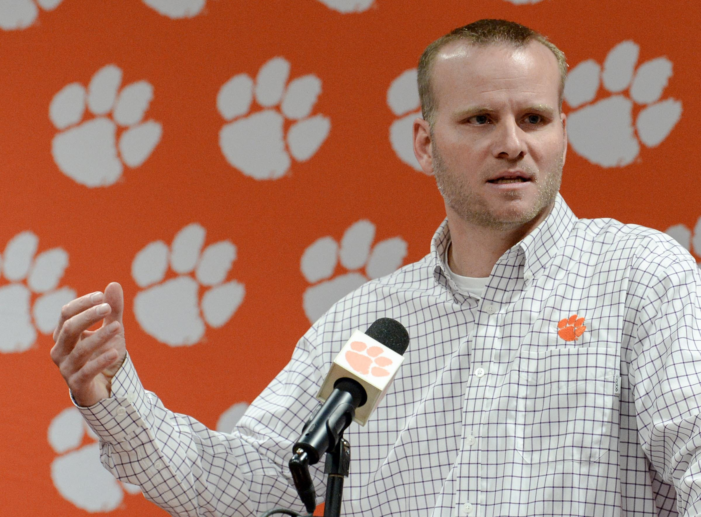 Clemson football quarterback coach Brandon Streeter speaks during National Letter of Intent signing day press conference in Clemson Wednesday, February 6, 2019.