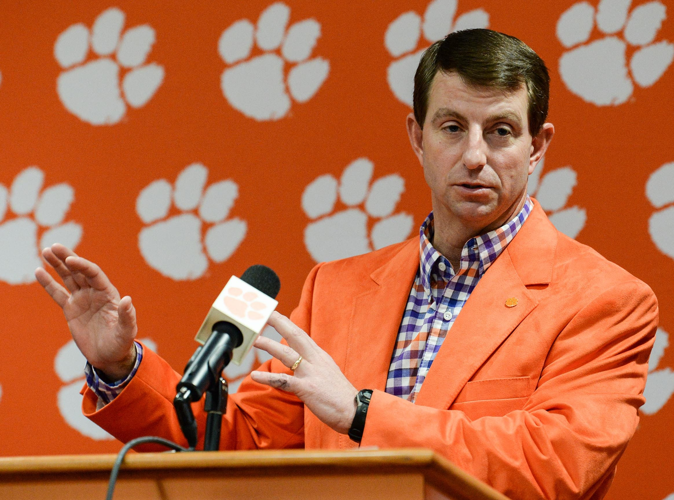 Clemson football head coach Dabo Swinney speaks during National Letter of Intent signing day press conference in Clemson Wednesday, February 6, 2019.