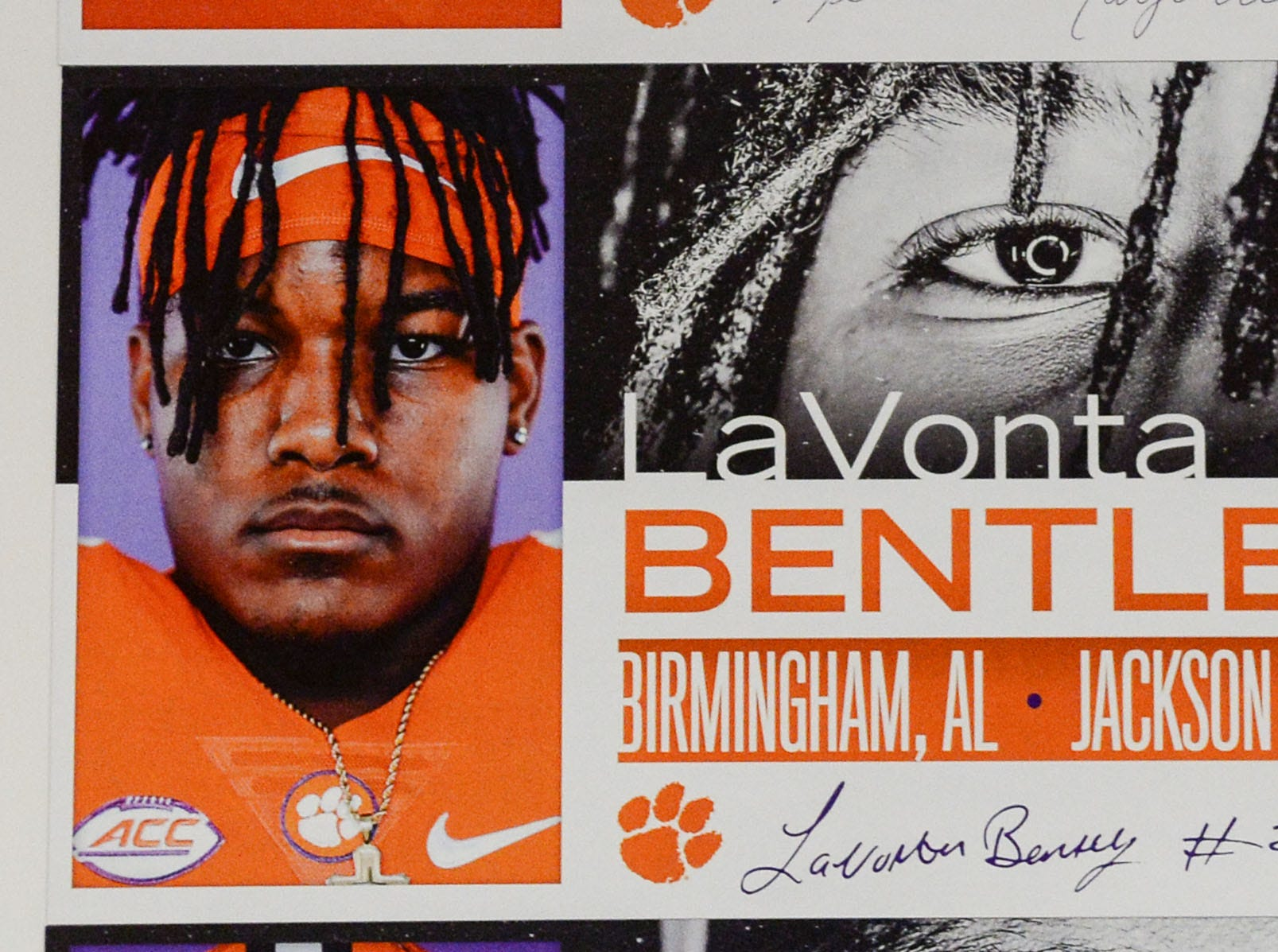 A photo of LaVonta Bentley, a linebacker from Birmingham, Alabama, is displayed in the team meeting room for a National Letter of Intent signing day press conference in Clemson Wednesday, February 6, 2019.