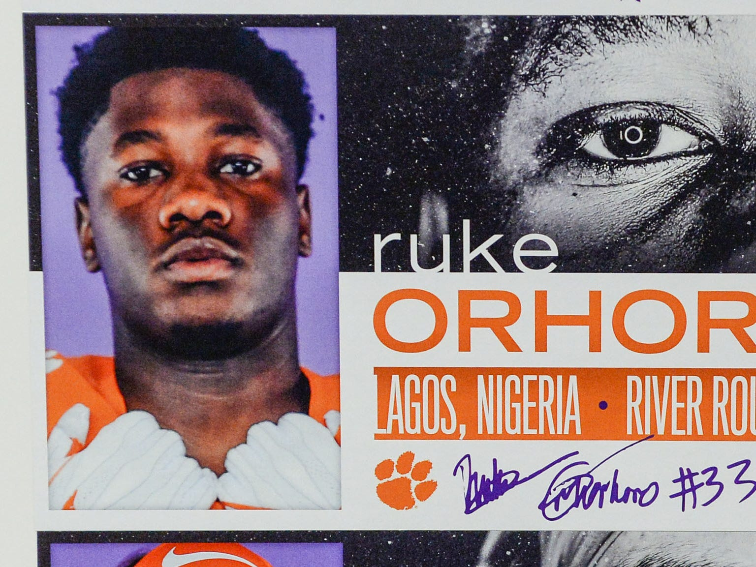A photo of Ruke Orhorhoro, a defensive lineman from Lagon, Nigeria, is displayed in the team meeting room for a National Letter of Intent signing day press conference in Clemson Wednesday, February 6, 2019.