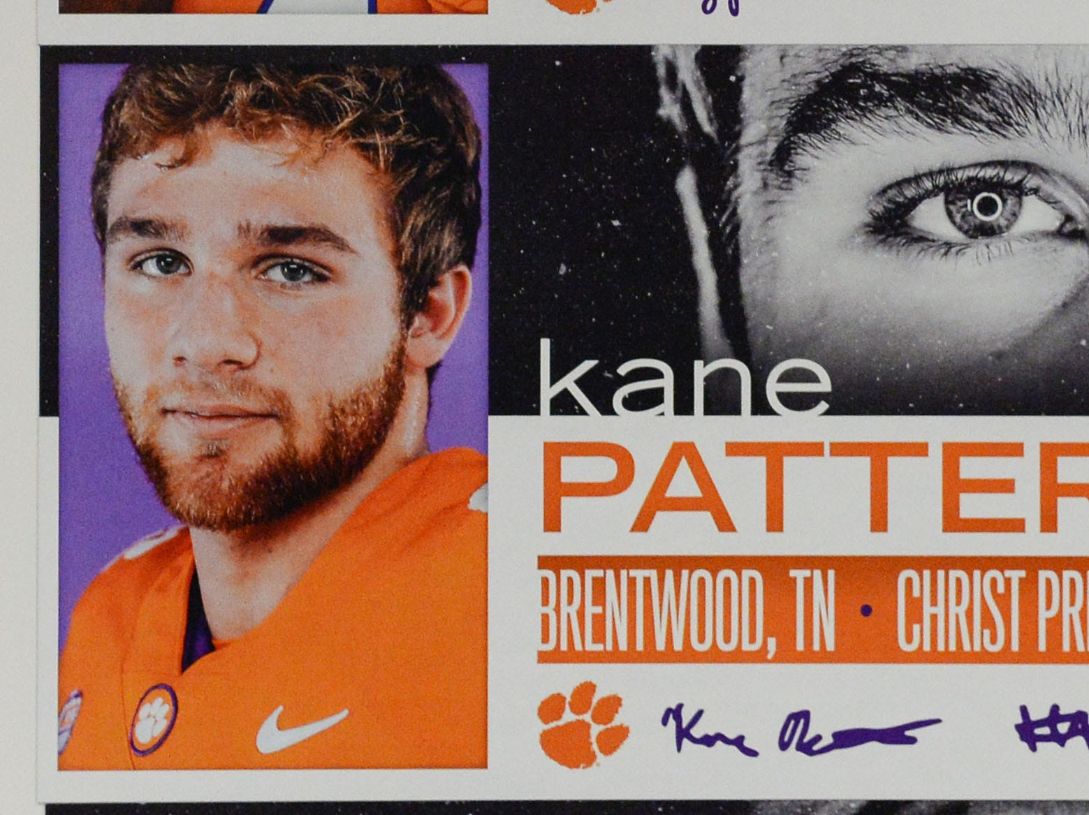A photo of Kane Patterson, a linebacker from Brentwood, Tennessee, is displayed in the team meeting room for a National Letter of Intent signing day press conference in Clemson Wednesday, February 6, 2019.