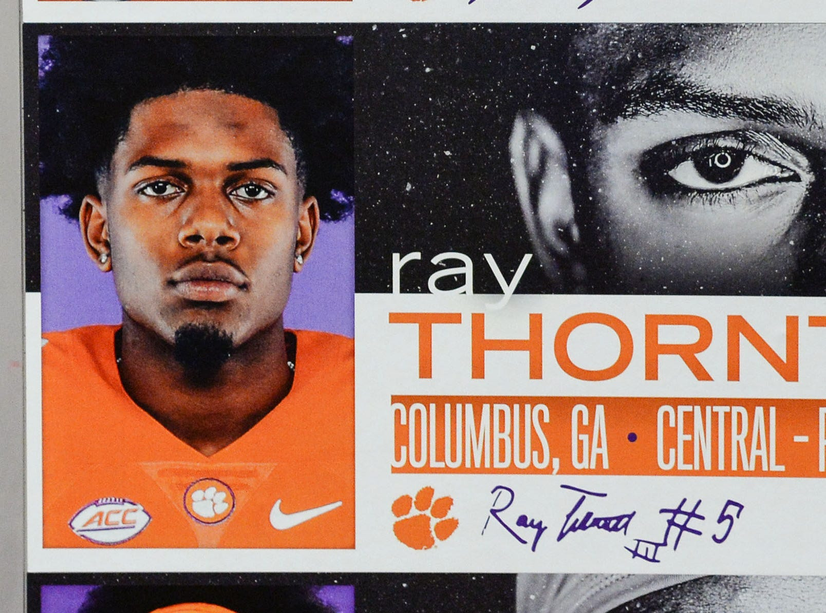 A photo of Ray Thornton, a defensive back from Columbus, Georgia, is displayed in the team meeting room for a National Letter of Intent signing day press conference in Clemson Wednesday, February 6, 2019.