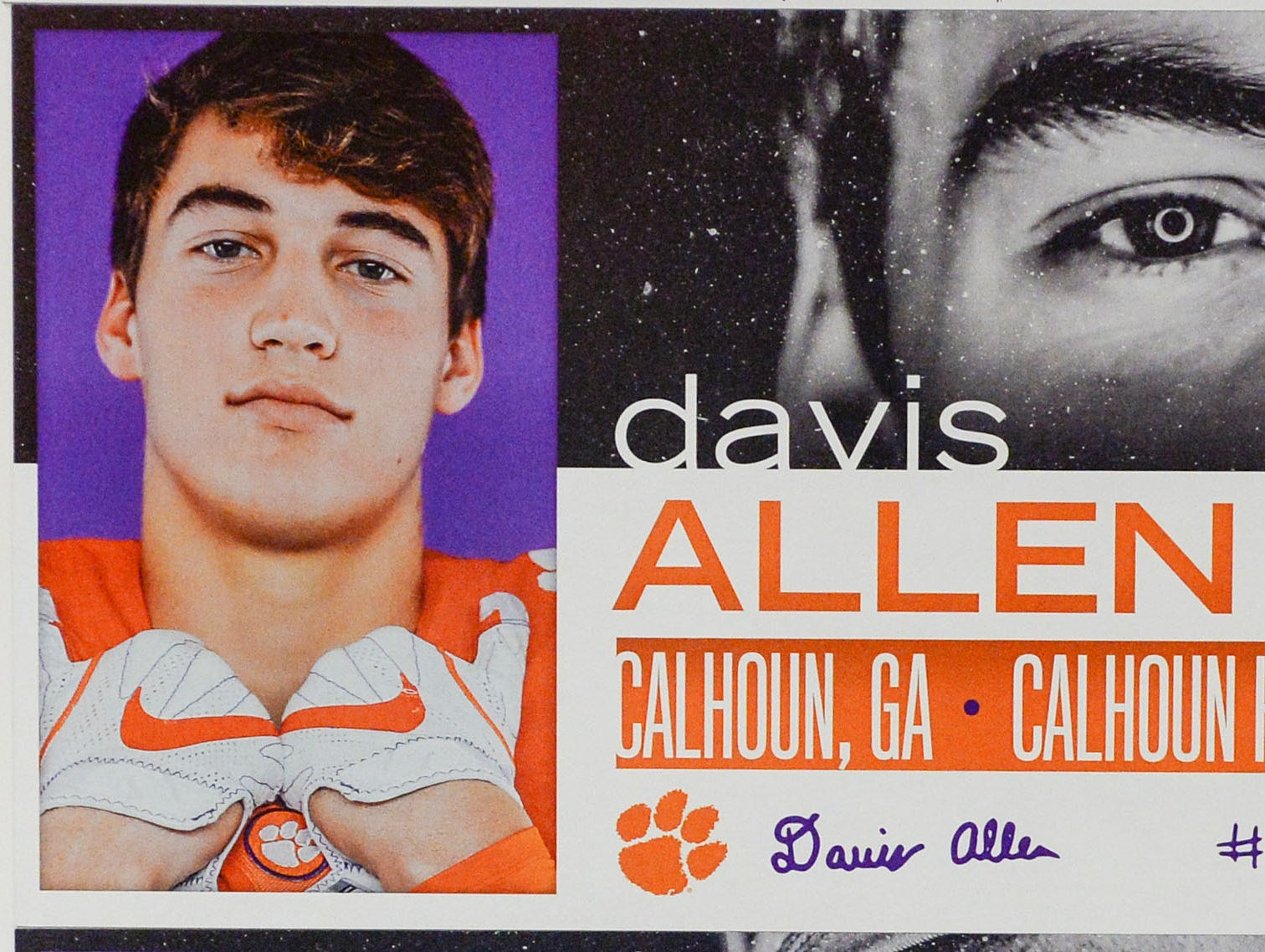 A photo of Davis Allen, a tight end from Calhoun, Georgia, is displayed in the team meeting room for a National Letter of Intent signing day press conference in Clemson Wednesday, February 6, 2019.