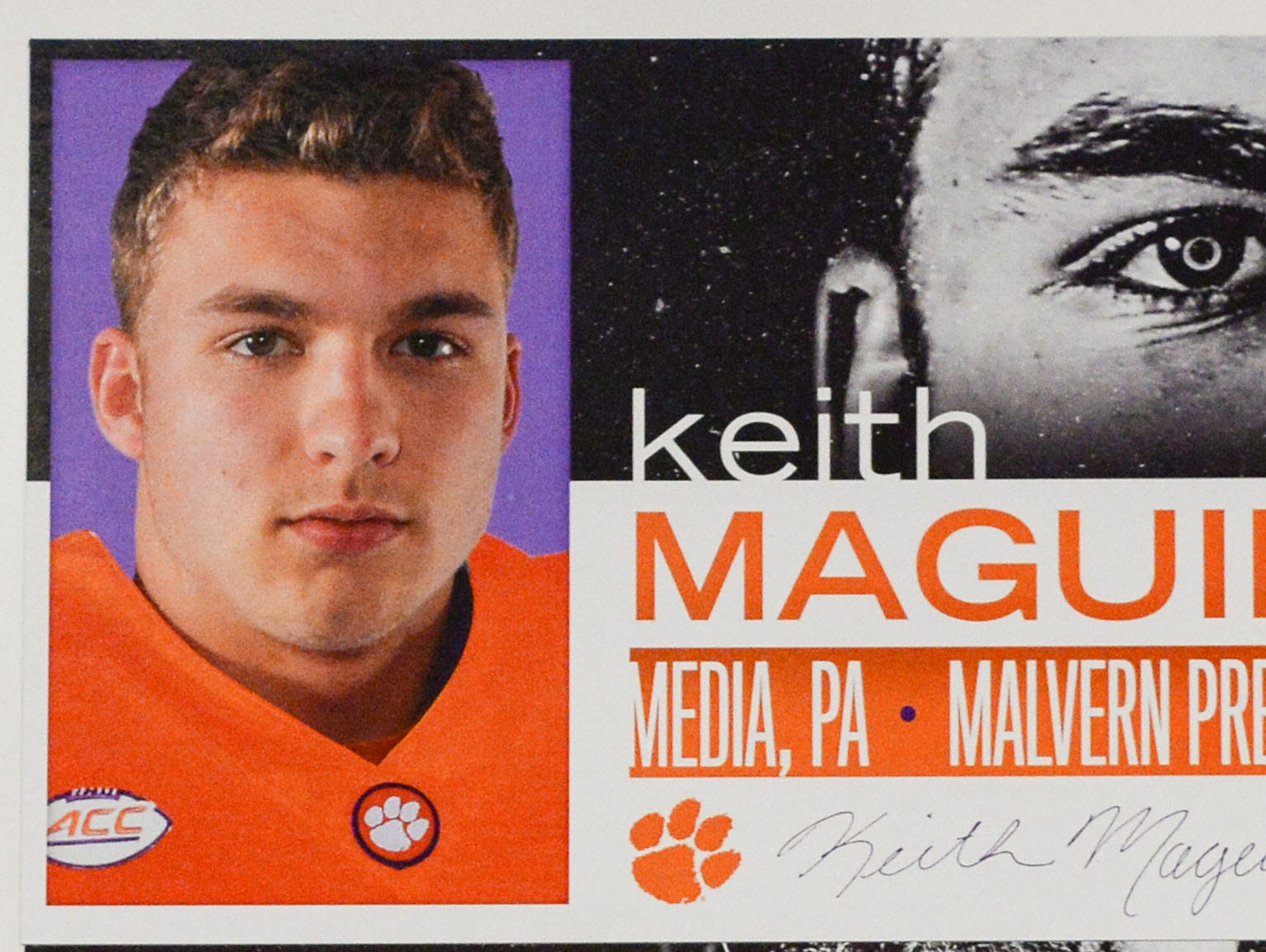 A photo of Keith Maguire, a linebacker from Media, Pennsylvania, is displayed in the team meeting room for a National Letter of Intent signing day press conference in Clemson Wednesday, February 6, 2019.