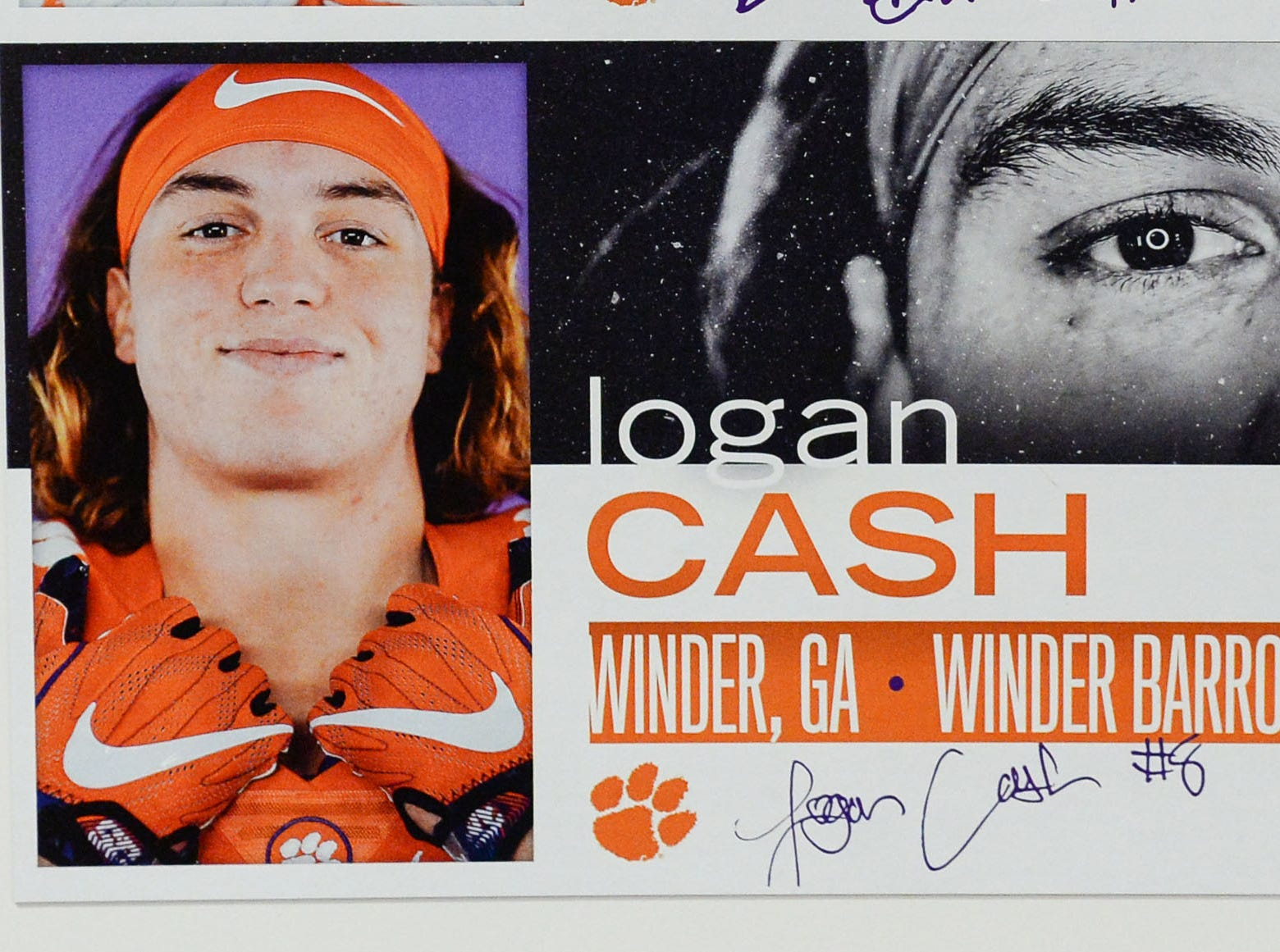 A photo of Logan Cash, a defensive lineman from Winder, Georgia, is displayed in the team meeting room for a National Letter of Intent signing day press conference in Clemson Wednesday, February 6, 2019.