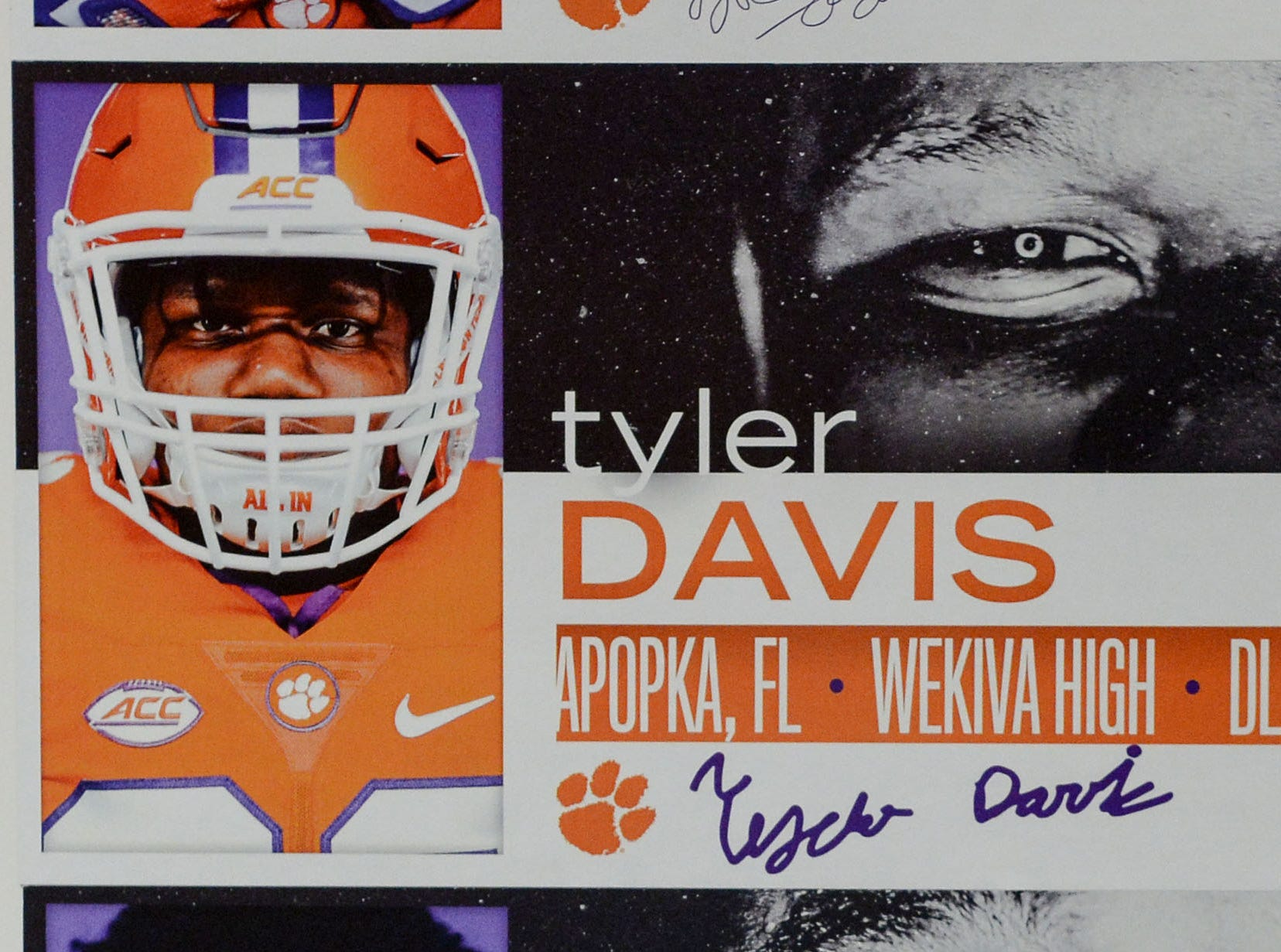 A photo of Tyler Davis, a defensive lineman from Apopka, Florida, is displayed in the team meeting room for a National Letter of Intent signing day press conference in Clemson Wednesday, February 6, 2019.
