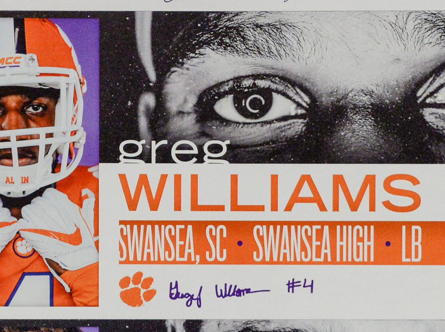 A photo of Greg Williams, a linebacker from Swansea, S.C., is displayed in the team meeting room for a National Letter of Intent signing day press conference in Clemson Wednesday, February 6, 2019.