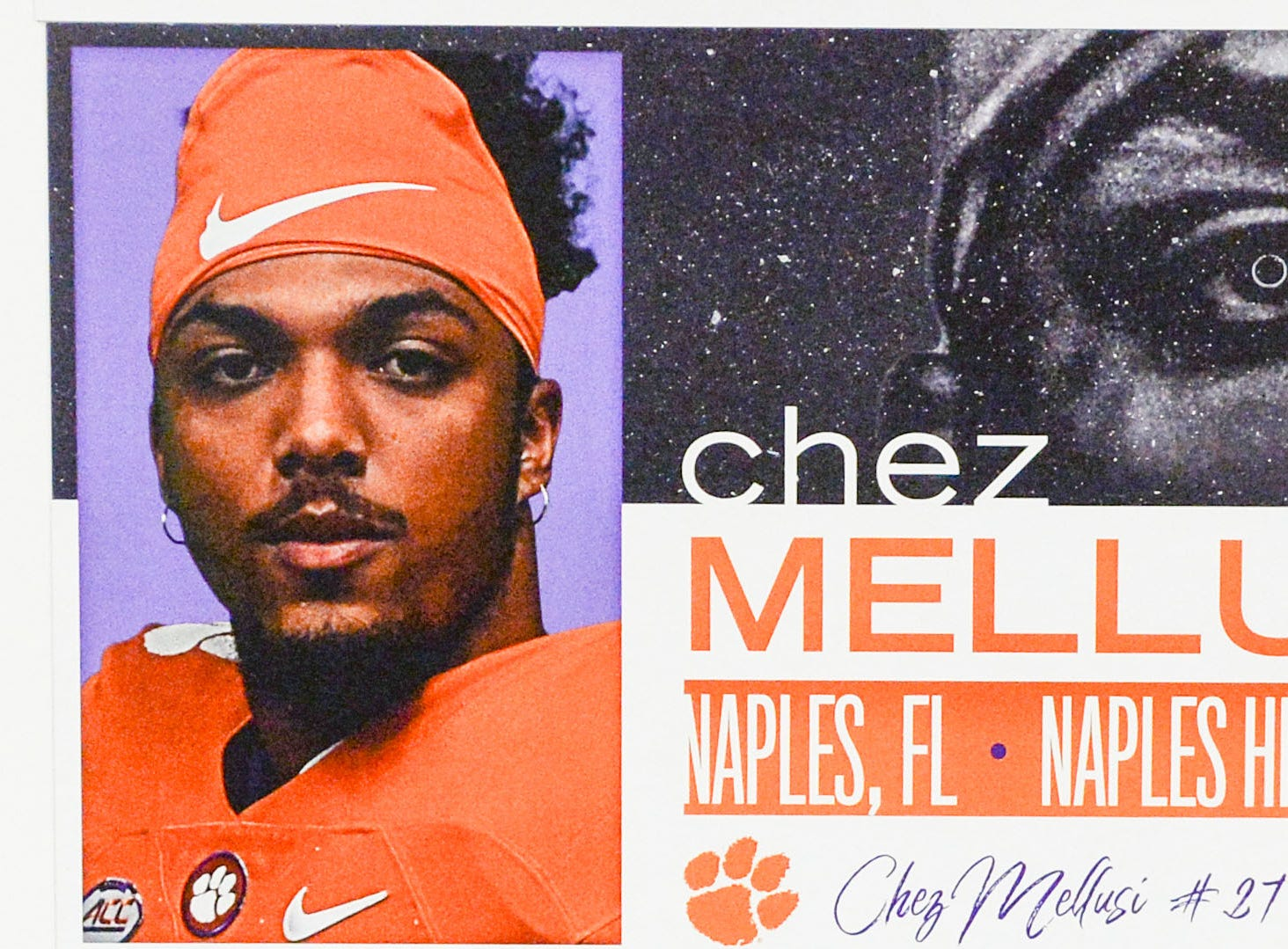 A photo of Chez Mellusi, a running back from Naples, Florida, is displayed in the team meeting room for a National Letter of Intent signing day press conference in Clemson Wednesday, February 6, 2019.