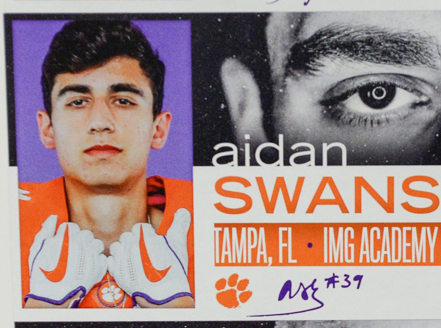 A photo of Aiden Swanson, a punter from Tampa, Florida, is displayed in the team meeting room for a National Letter of Intent signing day press conference in Clemson Wednesday, February 6, 2019.