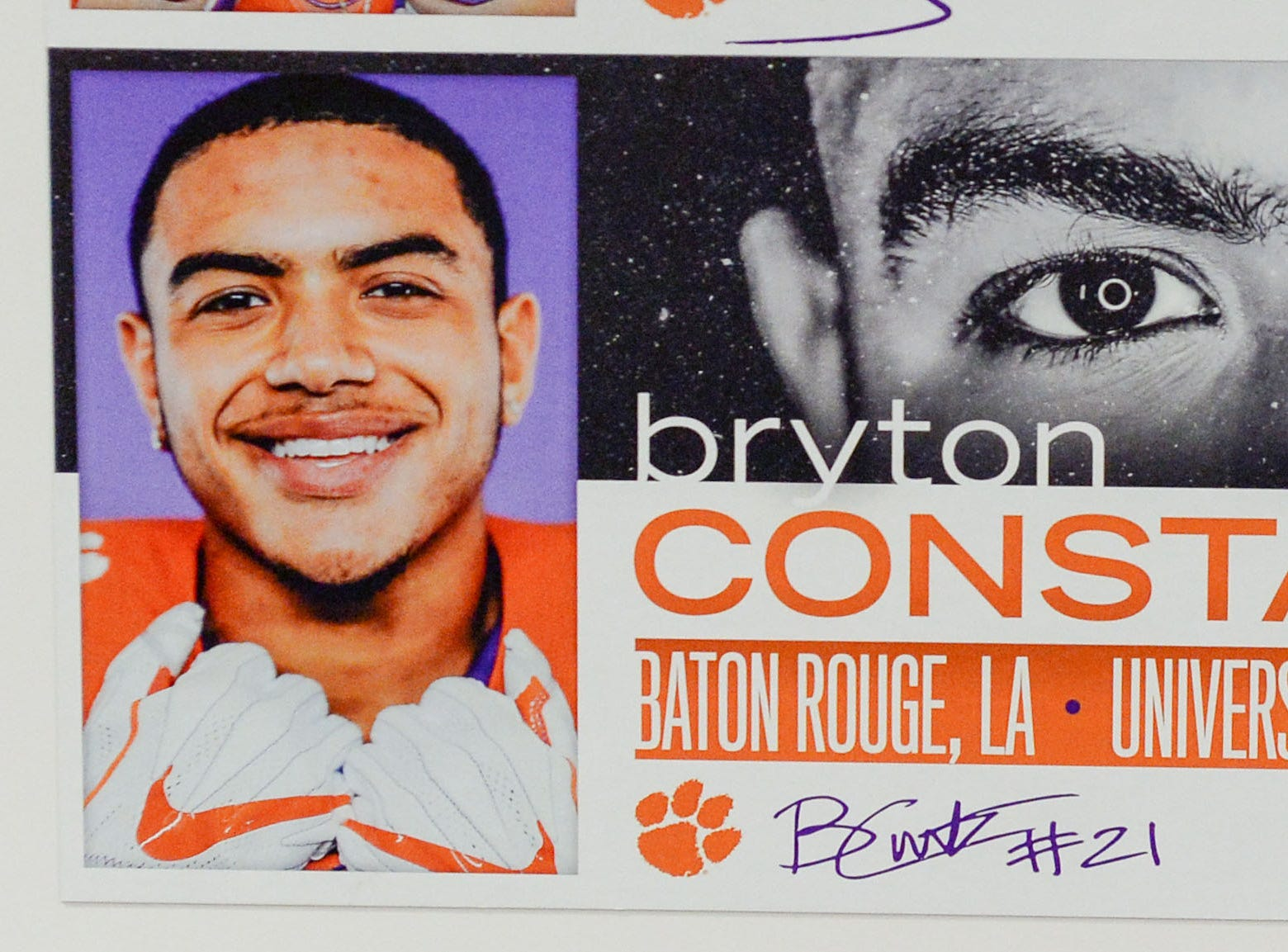 A photo of Bryton Constantin, a linebacker from Baton Rouge, Louisiana, is displayed in the team meeting room for a National Letter of Intent signing day press conference in Clemson Wednesday, February 6, 2019.