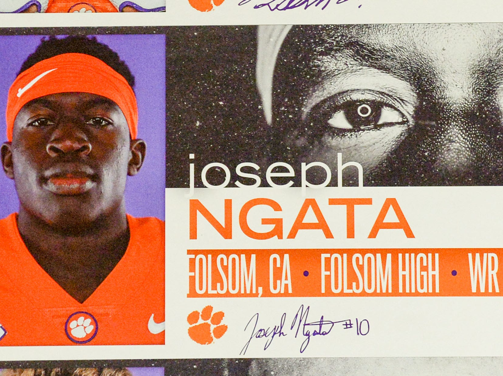 A photo of Joseph Ngata, a wide receiver from Folsom, California, is displayed in the team meeting room for a National Letter of Intent signing day press conference in Clemson Wednesday, February 6, 2019.