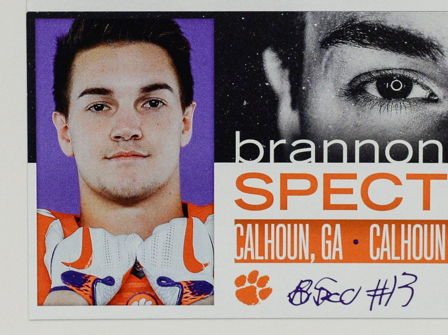 A photo of Brannon Spector, a wide receiver from Calhoun, Georgia, is displayed in the team meeting room for a National Letter of Intent signing day press conference in Clemson Wednesday, February 6, 2019.