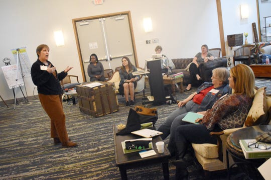 "Darlene Wolnik, senior research associate with the Farmers Market Coalition, talks to participants of the  Fresh Central Certified Institute on Friday and Thursday at the Holiday Inn in downtown Alexandria. The Central Louisiana Economic Development Alliance (CLEDA) hosted the institute. Wolnik and Sagdrina Jalal, executive director of the Georgia Farmers Market Association,, led participants through workshops on messaging, mission, measurement and management of farmers markets. Participants were given training tools and a headshot to use in their professional role. Each market received materials for their site, including data collection tools and a welcome booth set-up. The Institute is a professional development opportunity for Central Louisiana's farmers market managers. The 17 participants from Rapides, Grant, LaSalle and Natchitoches parishes were invited to attend. They represented local government, educational, or economic development organizations or were community volunteers.  ""Farmers markets have the potential to transform communities, and those who lead them have a complex job. Fresh Central Certified Institute will give market managers the training and resources they need to succeed,"" said Allison Tohme, CLEDA's Director of Regional Farmers Market Development, in a press release. ""I am excited to build a strong foundation at the Institute, then keep moving forward with each market and as a region to grow our network of farmers markets."" Fresh Central Certified Institute was made possible with funding from a USDA Farmers Market Promotion Program Grant and the USDA National Resource Conservation Service (NRCS)."