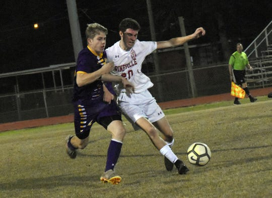 Alexandria Senior High School boys soccer hosted Pineville High School in the Division I regionals held Wednesday, Feb. 6, 2019. ASH won 4-3 in penalty kicks.