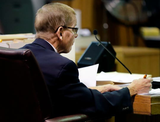Fox Crossing Municipal Judge Len Kachinsky during a Wisconsin Judicial Commission disciplinary hearing on Thursday at the Winnebago County Courthouse in Oshkosh.