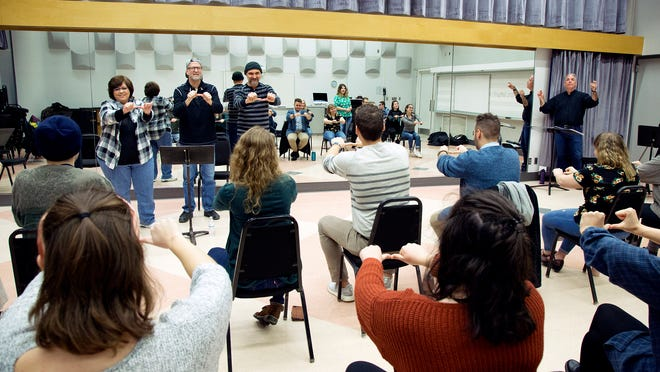 """Opera Theatre students go through training on American Sign Language in preparation for the production of """"Mass"""" at Lawrence University."""