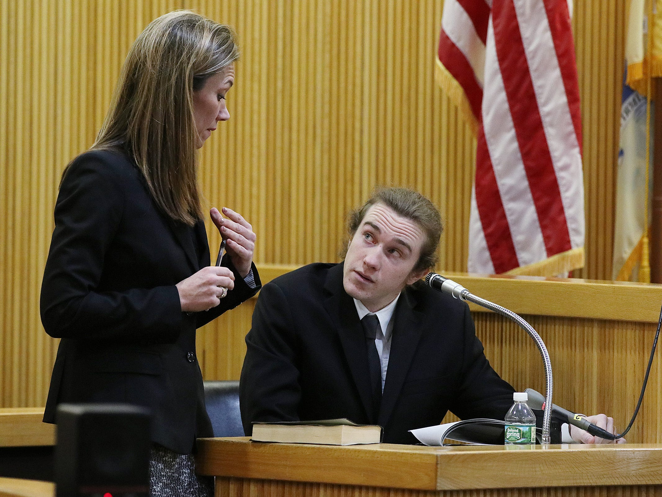 Meghan Doyle, assistant Monmouth County prosecutor, questions Anthony Curry, who worked with police and recorded a confession by his friend, Liam McAtasney, as he testifies during the trial of Liam McAtasney, who is charged with the murder of former high school classmate, Sarah Stern, before Superior Court Judge Richard W. English at the Monmouth County Courthouse in Freehold, NJ Thursday, February 7, 2019.