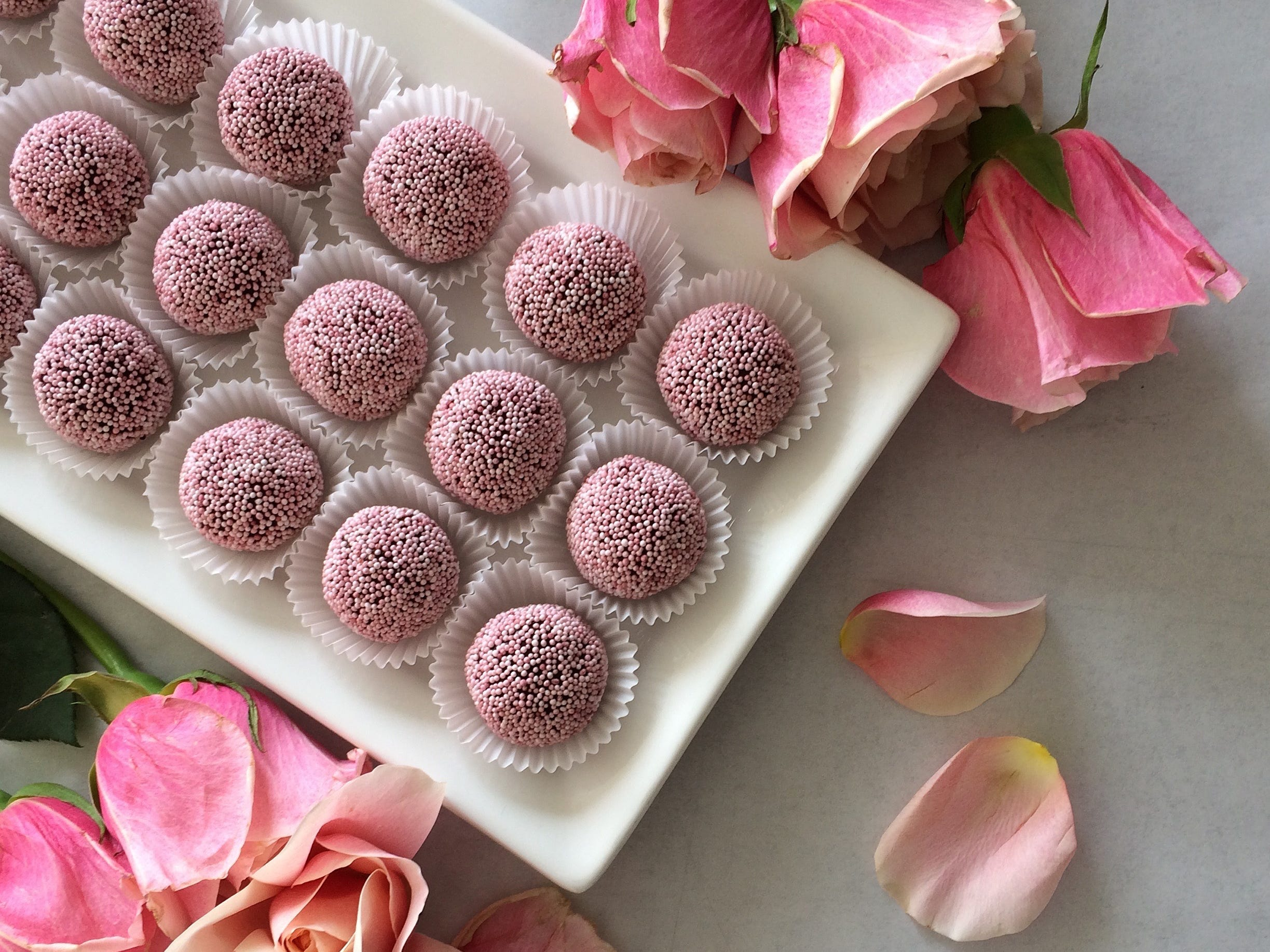 Chocolate cherry truffles are included in Cupid's Candy Boxes at The Flaky Tart in Atlantic Highlands.
