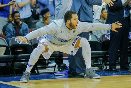 Seton Hall Pirates forward Braeden Anderson celebrates OT victory over Wichita State Shockers at the Prudential Center in 2015.