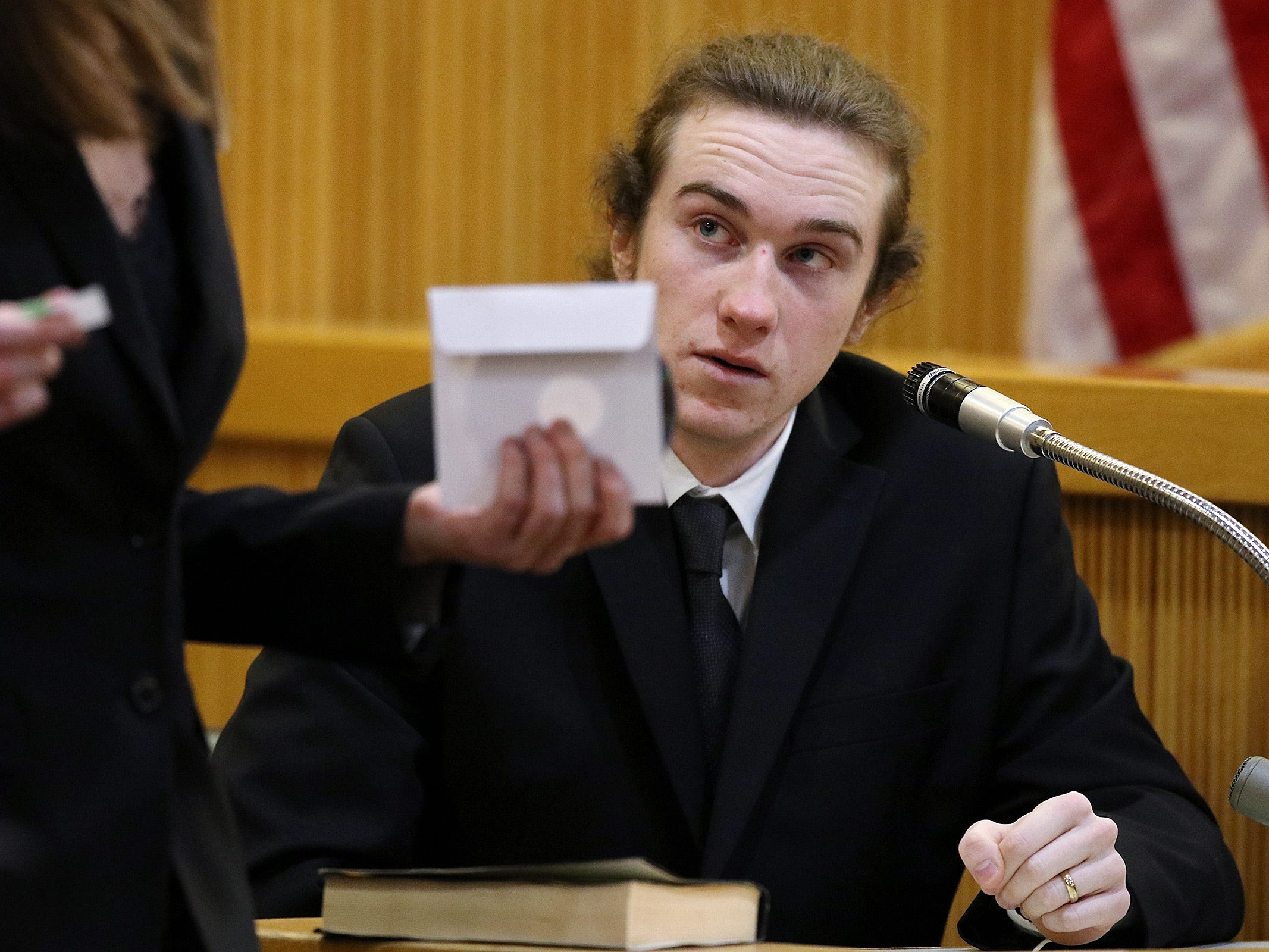 Anthony Curry, who worked with police and recorded a confession by his friend, Liam McAtasney, testifies during the trial of Liam McAtasney, who is charged with the murder of former high school classmate, Sarah Stern, before Superior Court Judge Richard W. English at the Monmouth County Courthouse in Freehold, NJ Thursday, February 7, 2019.