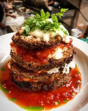The eggplant Napoleon, layered with ricotta cheese, from Nauvoo Grill Club in Fair Haven.