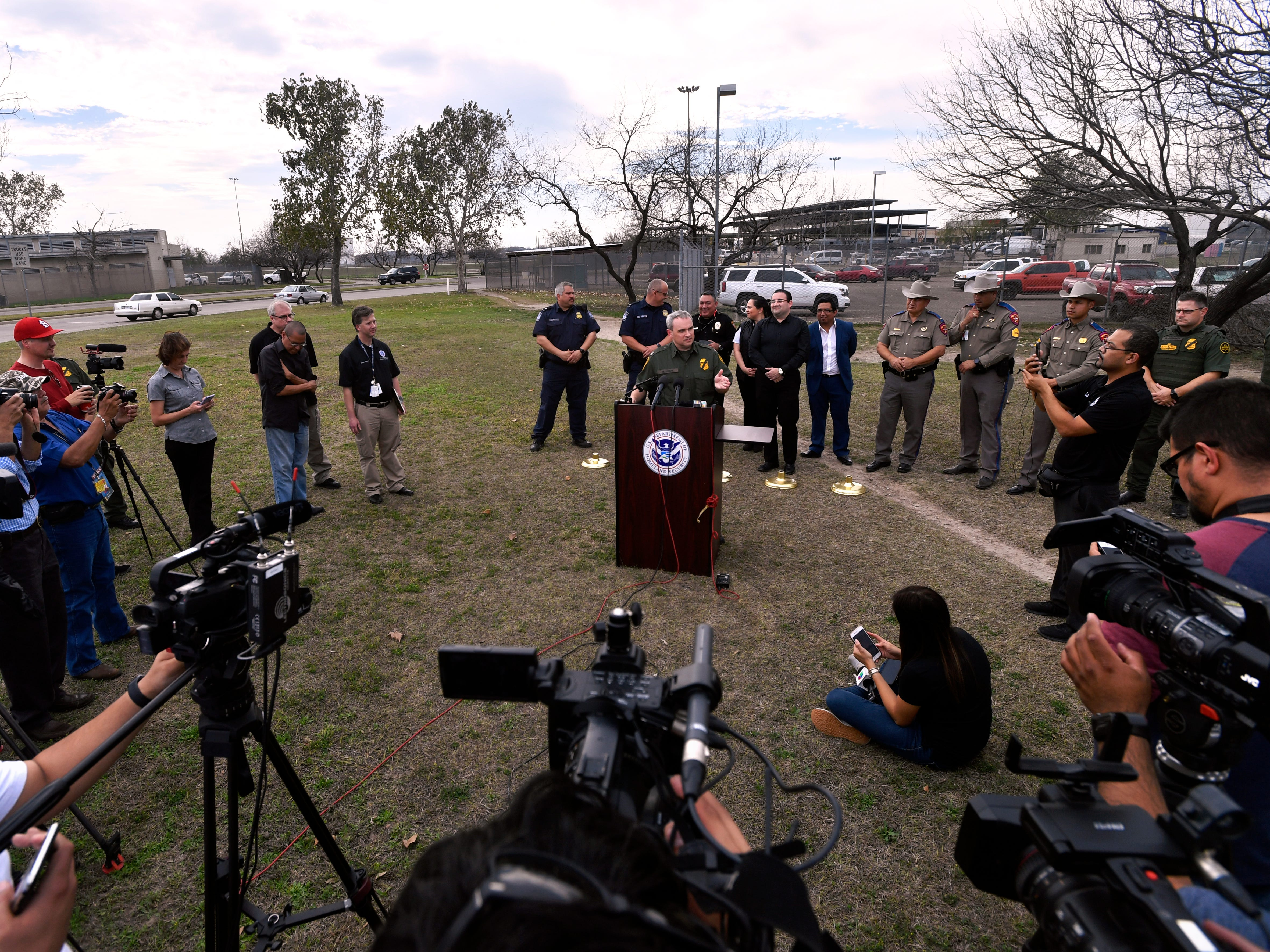 Chief Patrol Agent Matthew J. Hudak, Del Rio Sector Border Patrol U.S. Customs and Border Protection, speaks to reporters during a press conference Wednesday Feb. 6, 2019 in Eagle Pass. Officials from CPB, the City of Eagle Pass, and the Port of Entry held an outdoor briefing not far from the Rio Grande where a large migrant caravan has arrived on the other side of the river in Piedras Negras.