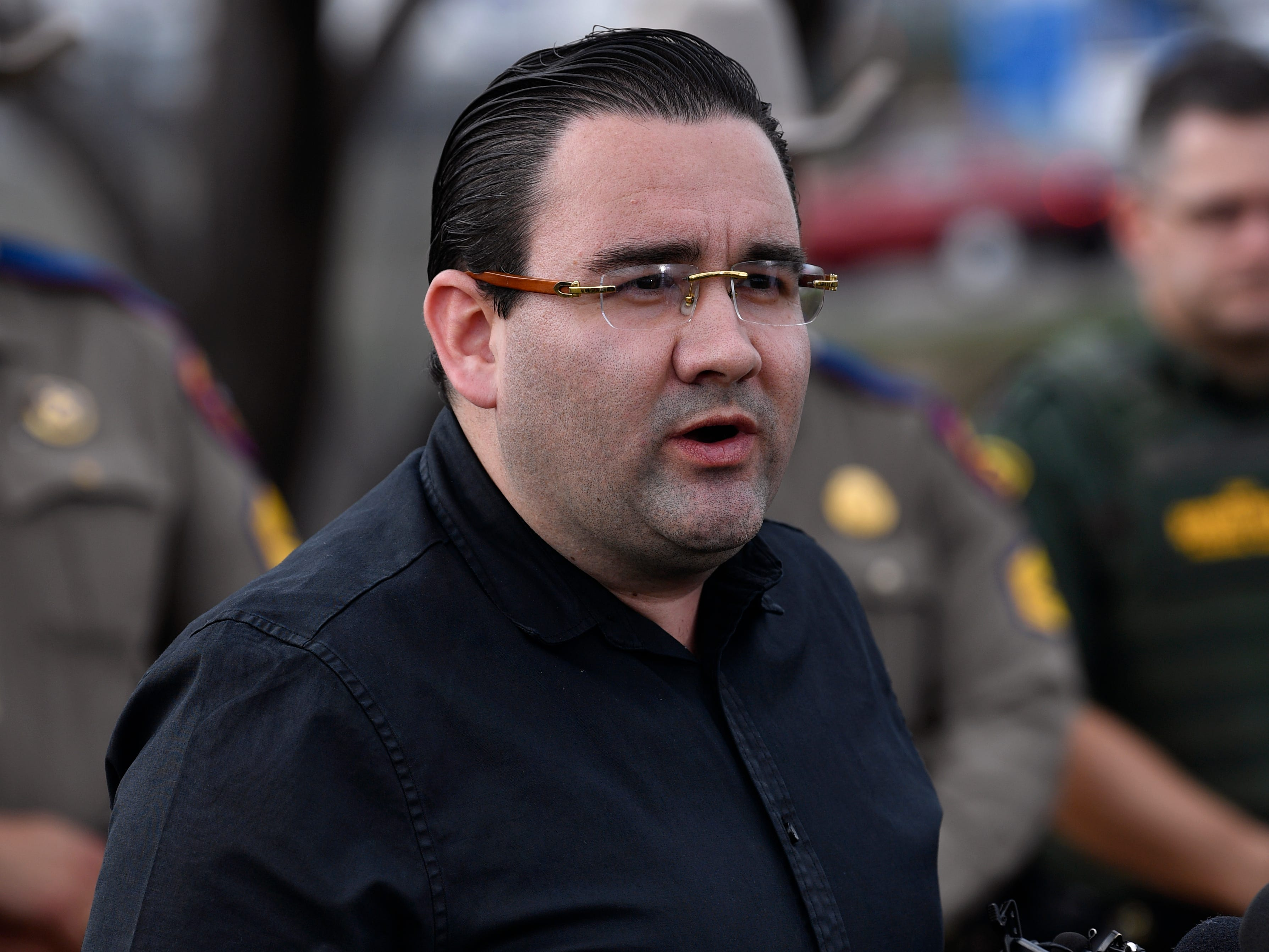 Eagle Pass Mayor Ramsey English Cantu speaks to reporters during a press conference Wednesday Feb. 6, 2019 on the area's response to the migrant caravan which arrived recently across the river in Piedras Negras.