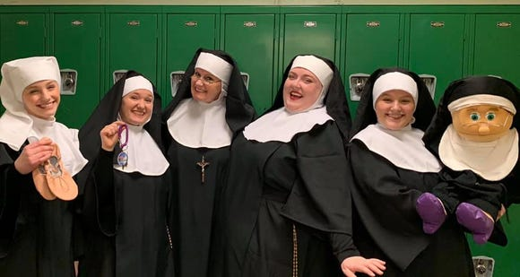 "The ""Nunsense"" cast includes (from left) Haley Robinson, Gracie Raiford, Judy Batschi, Amy Knickerbocker and Hannah Robinson."