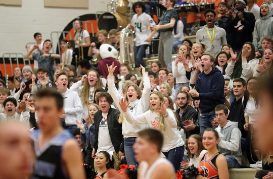 Central Kitsap students cheer their team on during the game against Mountain View boys basketball in Silverdale on Wednesday, February 6, 2019.