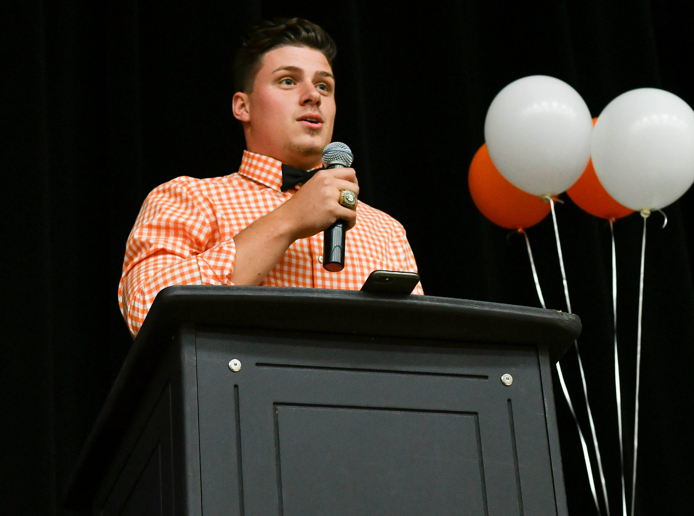 Alex Petruzzello thanks those who helped him succeed during National Signing Day at Cocoa High School