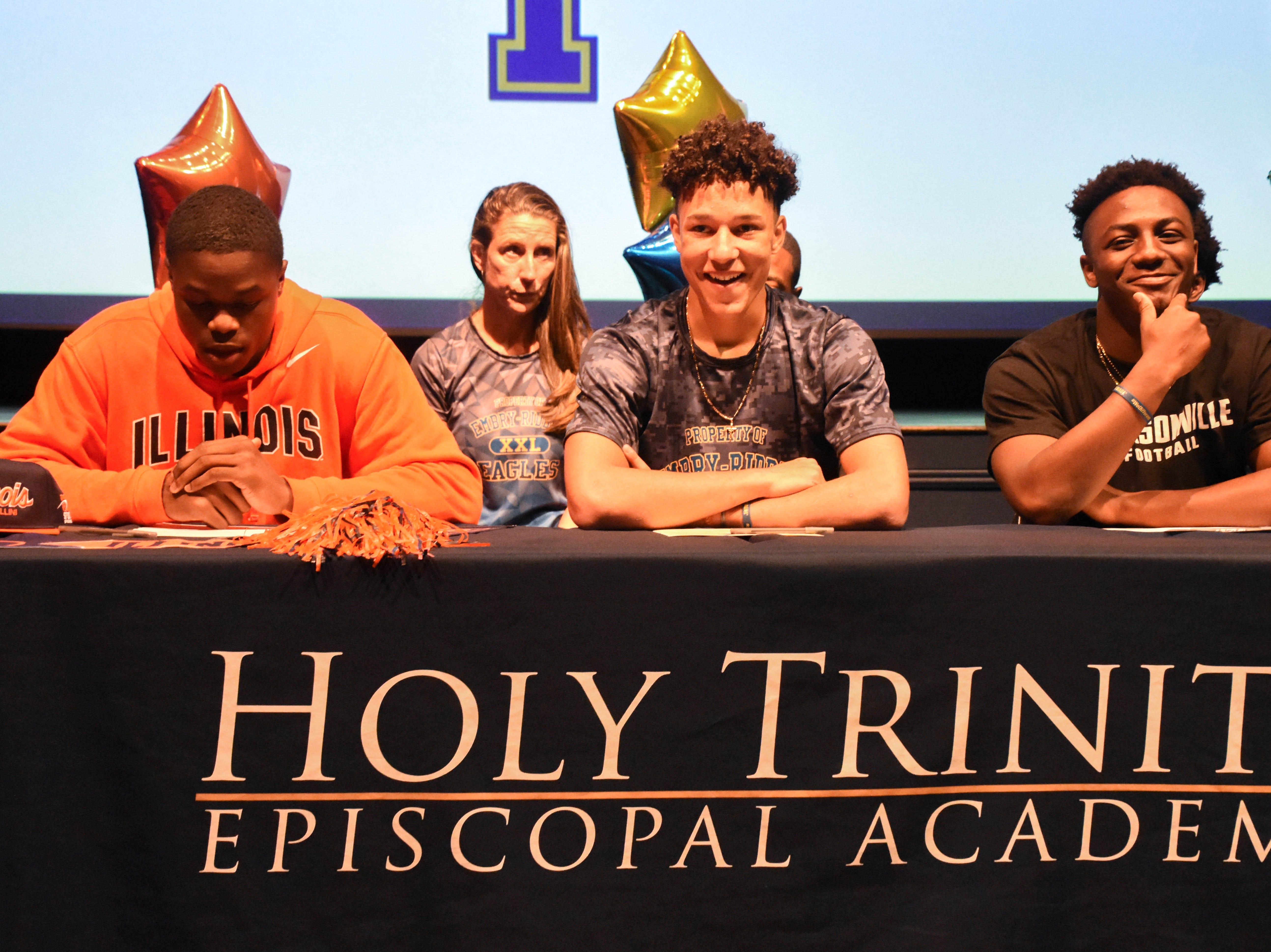 Holy Trinity athletes signed on Wednesday.  Courtesy of Holy Trinity.