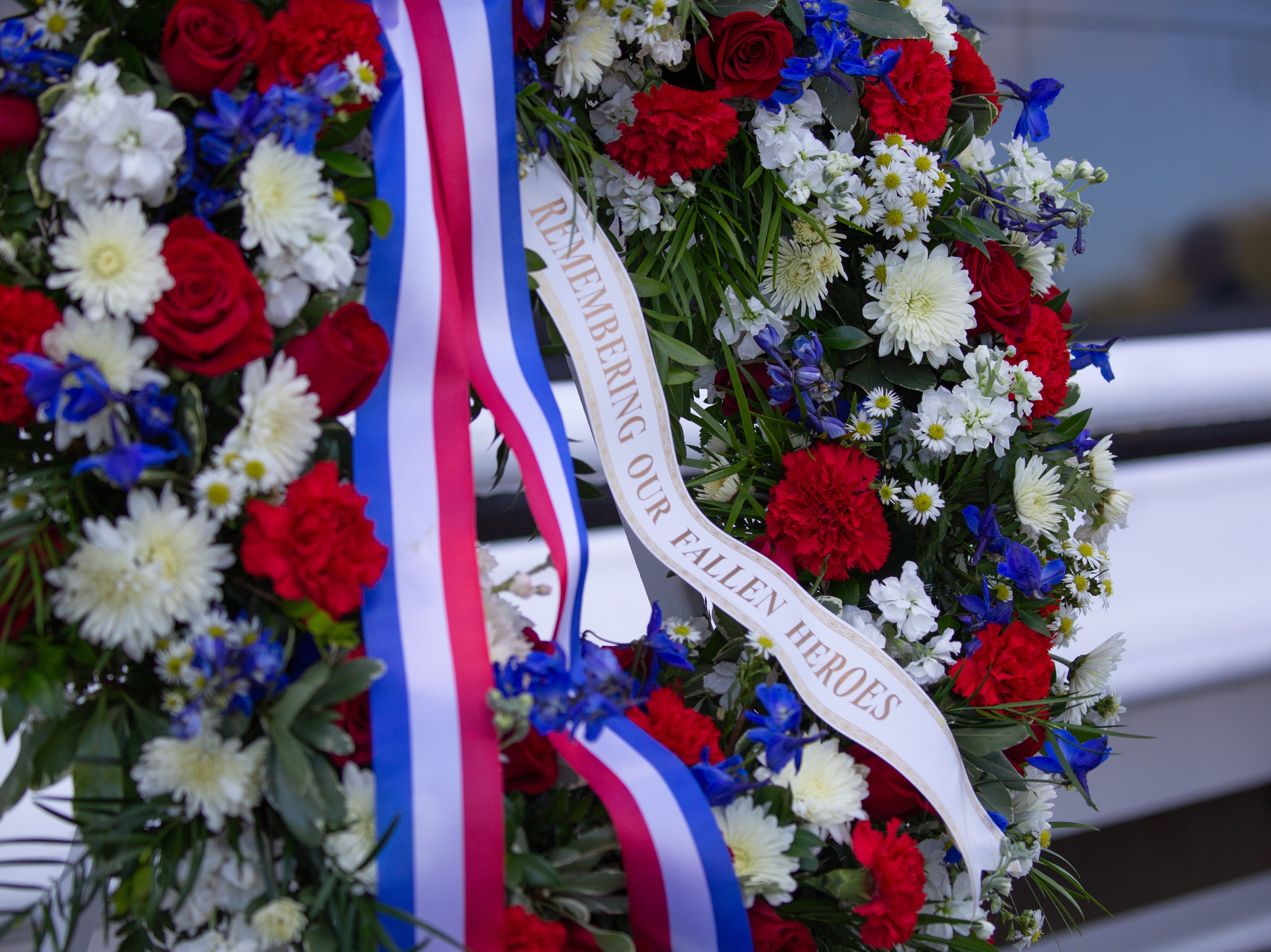 The wreath laid for fallen astronauts at the Kennedy Space Center Visitor Complex's Space Mirror Memorial on Thursday, Feb. 7, 2019.