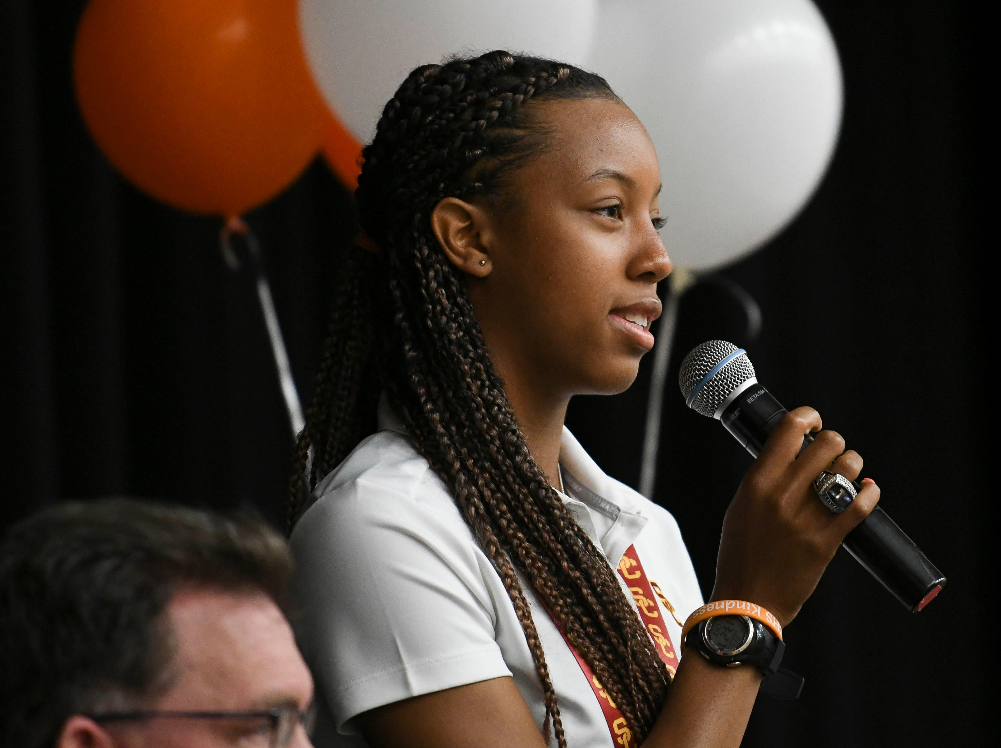 Jatana Folston thanks the people that helped her succeed in high school on National Signing Day at Cocoa High School