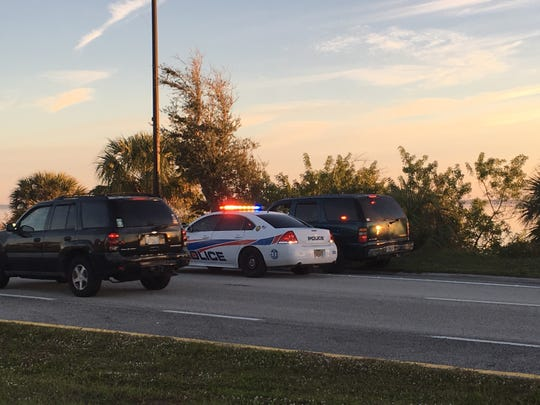 Traffic was delayed at the scene of a vehicle that went over a river embankment in Palm Bay early Thursday.