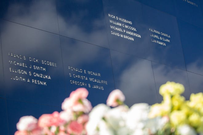 The names of fallen astronauts are seen on the Space Mirror Memorial at the Kennedy Space Center Visitor Complex during NASA's Day of Remembrance on Thursday, Feb. 7, 2019.