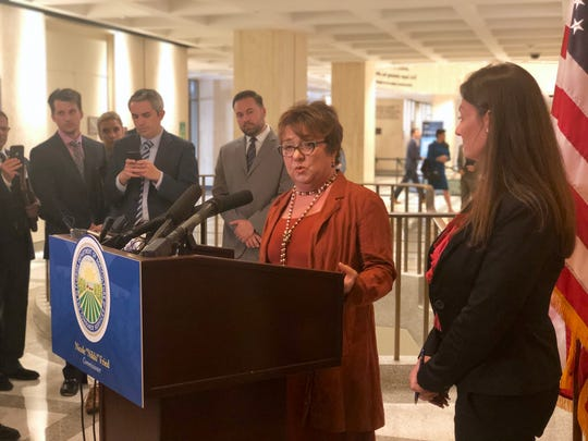Florida's Agriculture Commissioner Nikki Fried, right, announced the state's new cannabis czar Holly Bell, left, on Feb. 6, 2019.