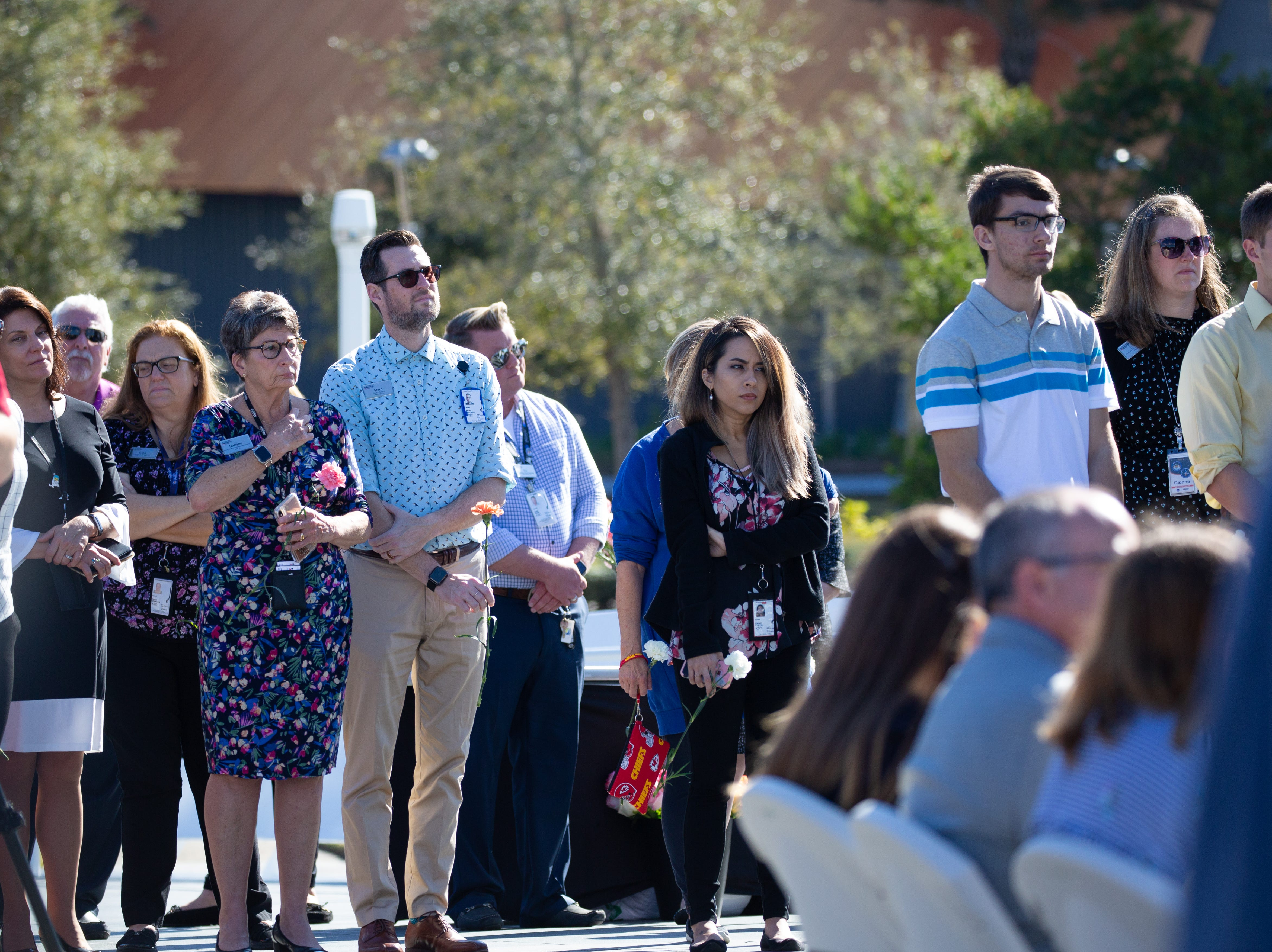 Crowds gather at the Space Mirror Memorial for NASA's Day of Remembrance at the Kennedy Space Center Visitor Complex on Thursday, Feb. 7, 2019.