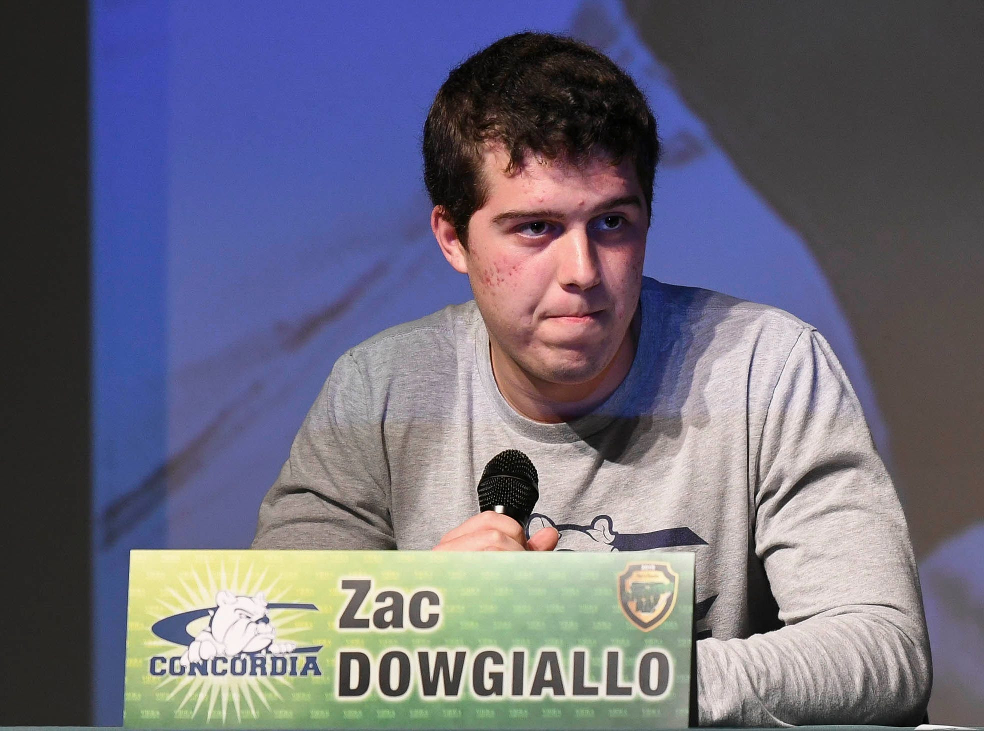 Viera High senior Zac Dowgiallo announces his choice of school after signing his letter of intent on National Signing Day..