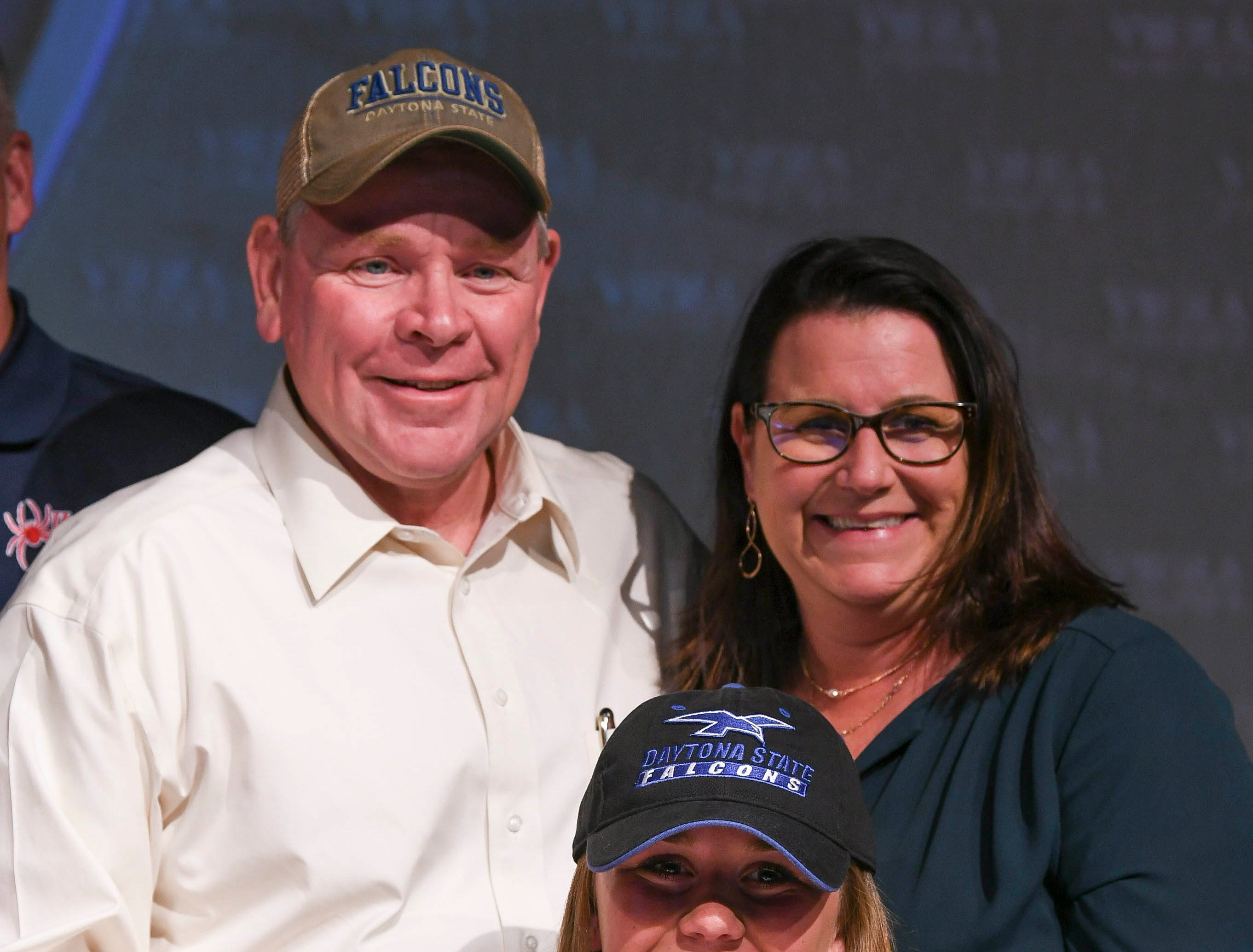 Viera High senior Cassie Bodi poses for photos with her family after signing her letter of intent on National Signing Day Wednesday.