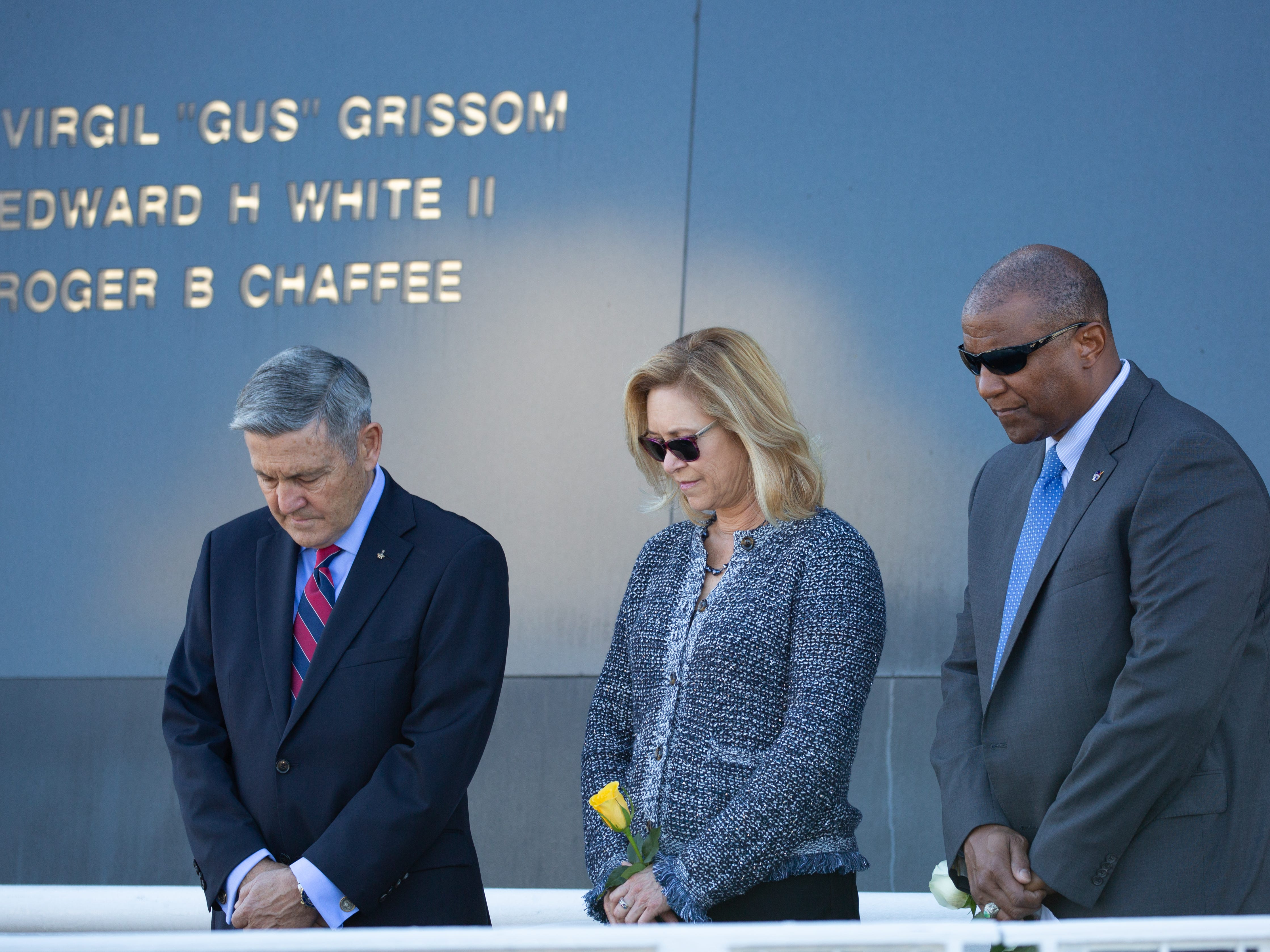 Kennedy Space Center Director Bob Cabana, Deputy Director Janet Petro and Associate Director Kelvin Manning attend NASA's Day of Remembrance at the Kennedy Space Center Visitor Complex on Thursday, Feb. 7, 2019.