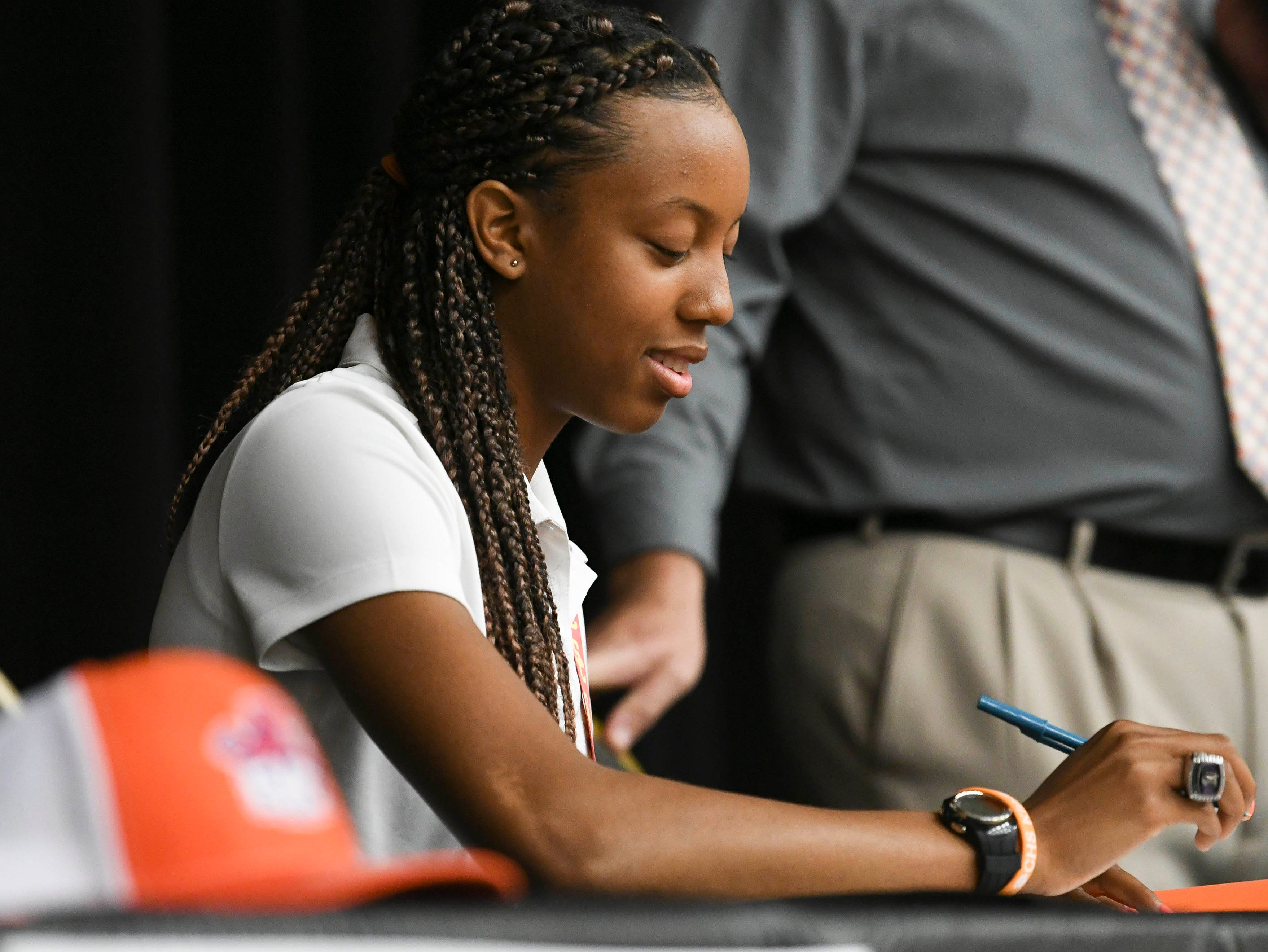 Jatana Folston signs her letter of intent on National Signing Day at Cocoa High School