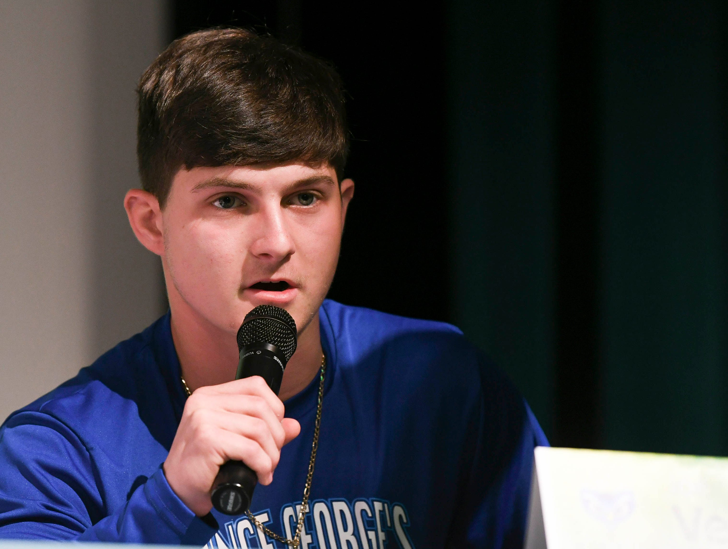 Viera High senior Joe Veltri announces his choice of college after signing his letter of intent on National Signing Day.