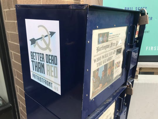 A Patriot Front poster was found on the newspaper box outside the Free Press office, Feb. 6 2019
