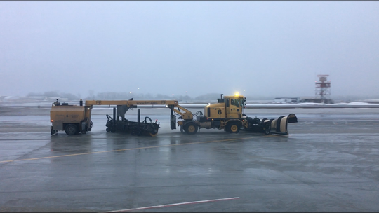 The tarmac at Burlington International Airport at 7:45 a.m. Thursday morning. Sleet has caused ice to build up on the ground.