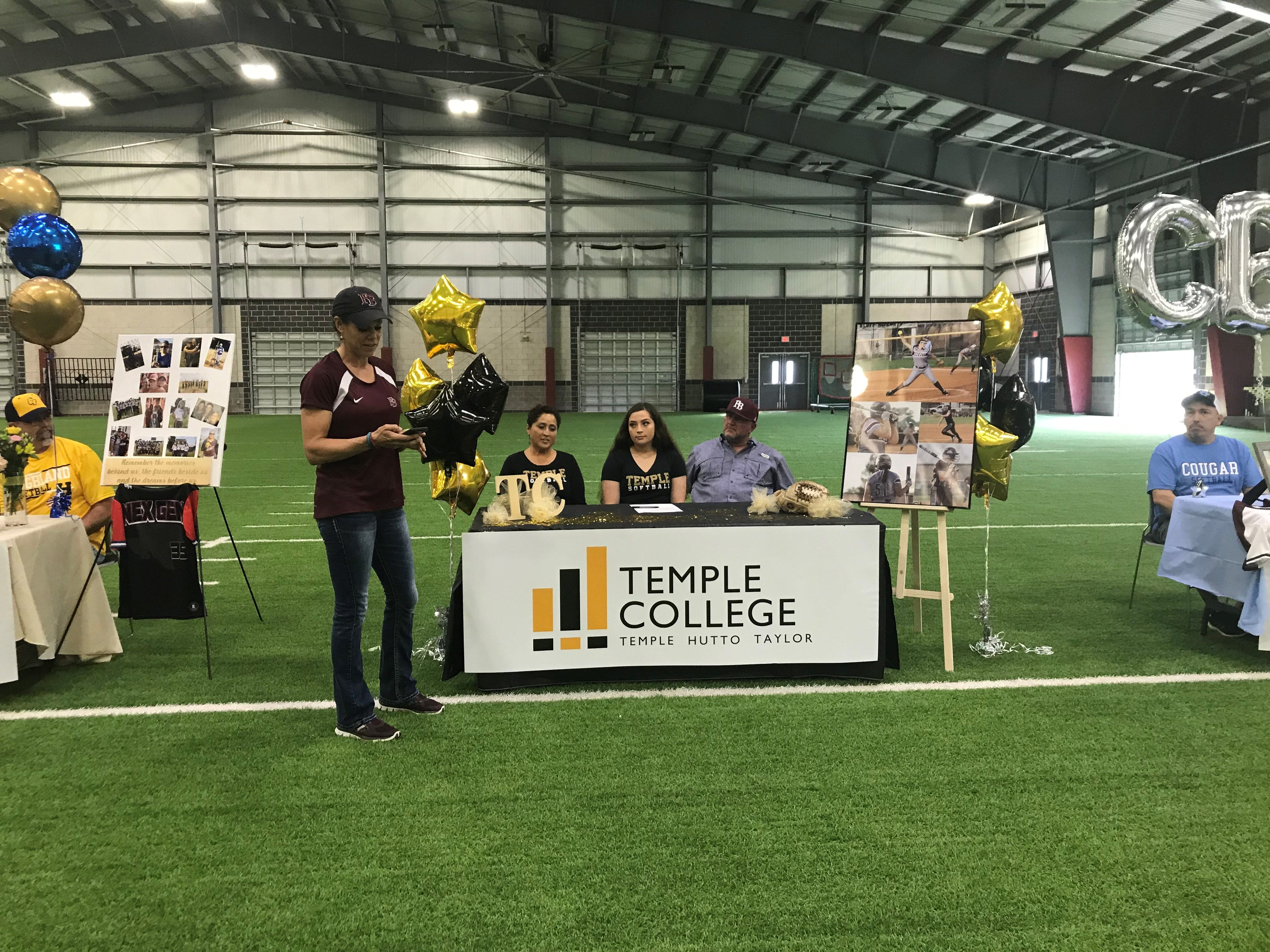 Kayci Spitler signed with Temple Junior College on Wednesday, Feb. 6 at Flour Bluff's athletic facility.